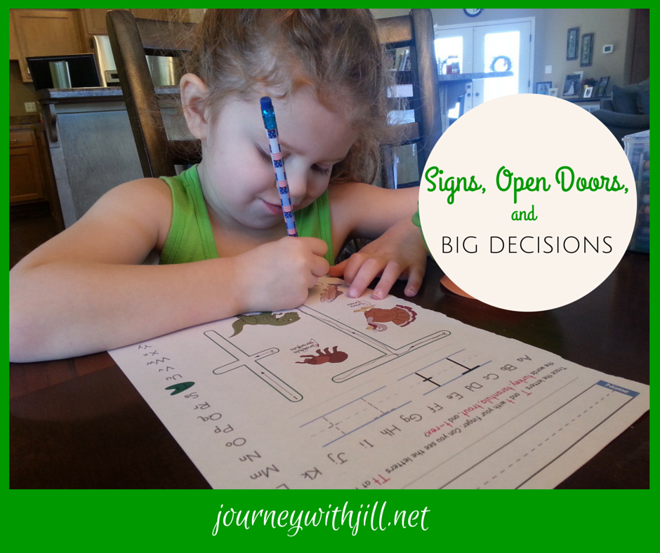 Signs, open doors, and big decisions