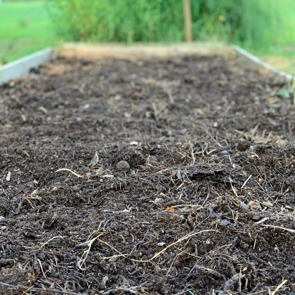 putting compost on garden during the fall