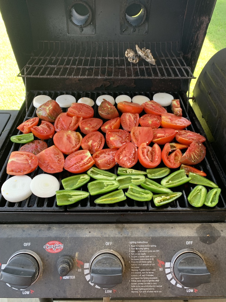 Grilling salsa ingredients for roasted tomato salsa