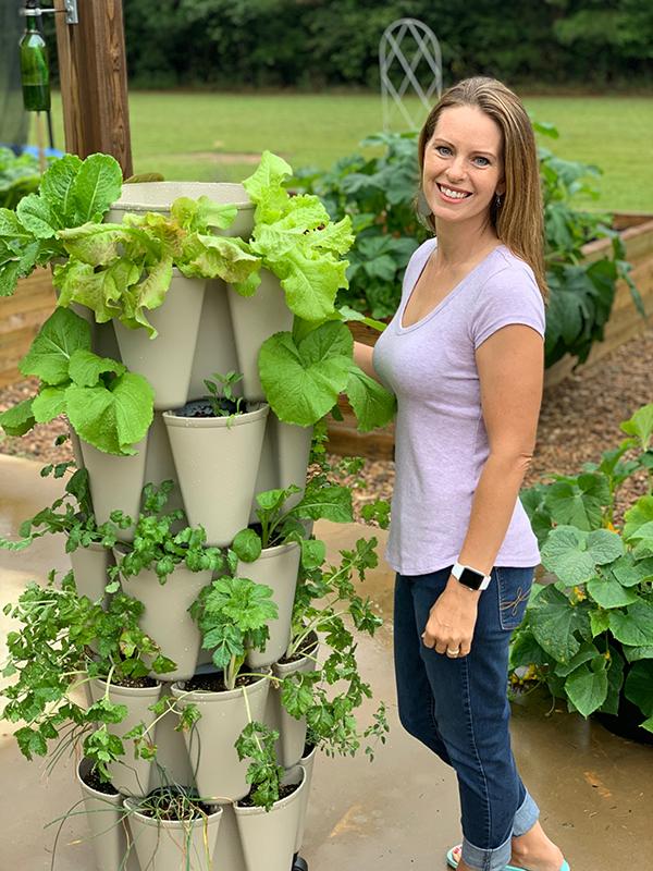 Greenstalk vertical planter full of plants