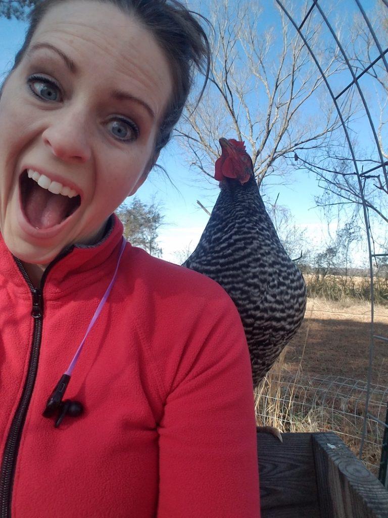 Gardner with chicken